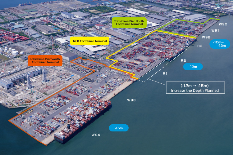 tobishima pier east side container terminal uff1ccontenair